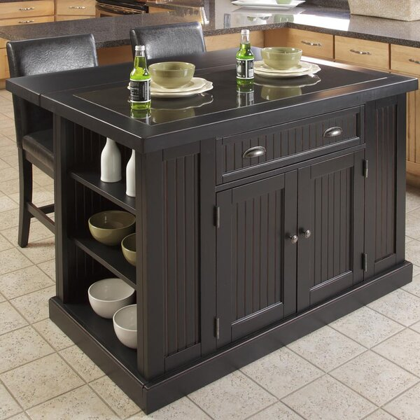 Rabin 3 Piece Kitchen Island Set with Granite Top by Beachcrest Home