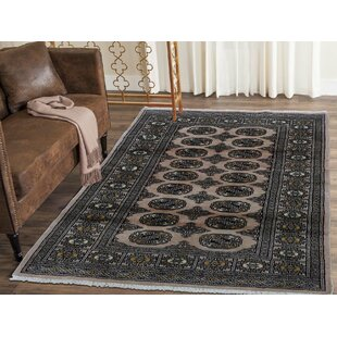 Online Reviews One-of-a-Kind Fleur Bokara Hand-Knotted 3'2 x 4'9 Wool Black Area Rug By Isabelline