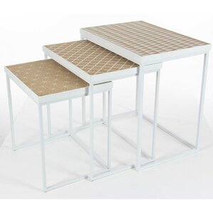 Elleny Metal Wood 3 Piece Nesting Tables by Latitude Run