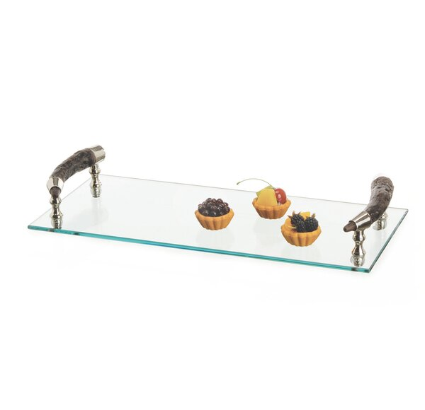 Clear Bark Handle Rectangle Serving Tray by Loon Peak