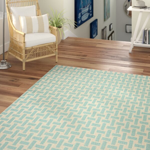 Masaryktown Hand-Woven Turquoise & Ivory Area Rug by Beachcrest Home