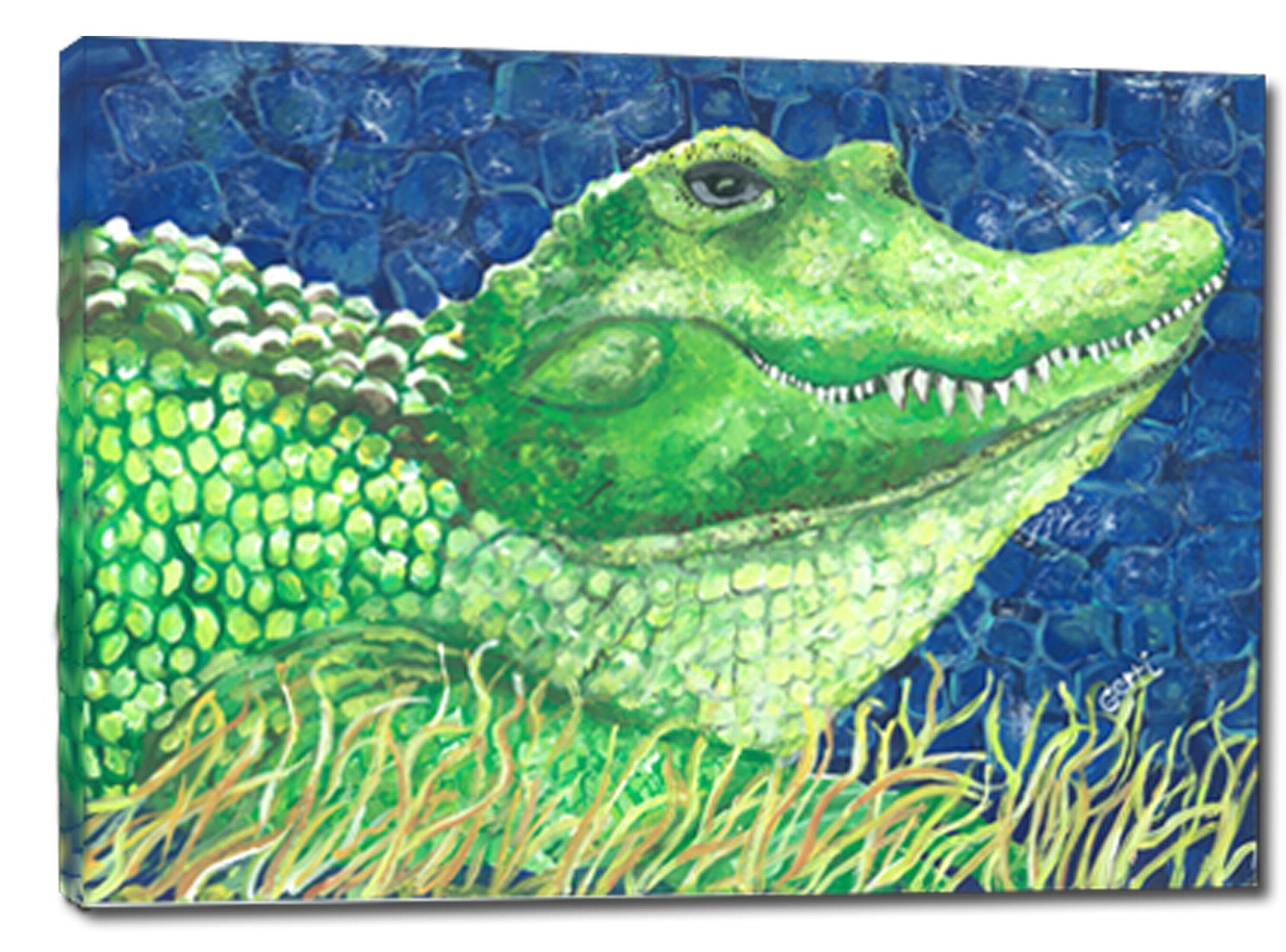 Latitude Run Whimsical Alligator Acrylic Painting Print On