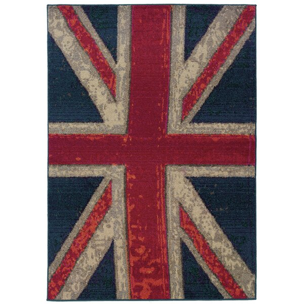 Daphne Union Jack Navy/Pink Area Rug by Trent Austin Design
