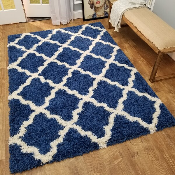 Burns Trellis Blue/White Area Rug by Zipcode Design