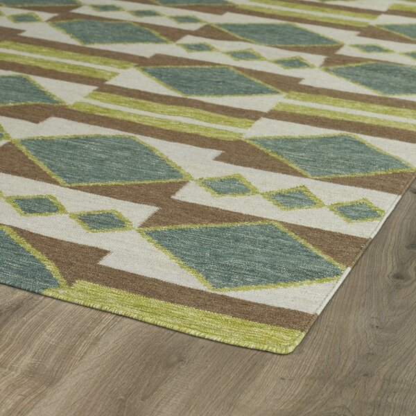 Marble Falls Turquoise Geometric Area Rug by Wrought Studio