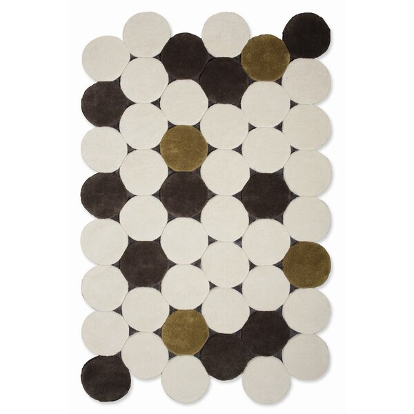 Hand Tufted Jose Gandia Circulos Ivory Geometric Area Rug by GAN RUGS