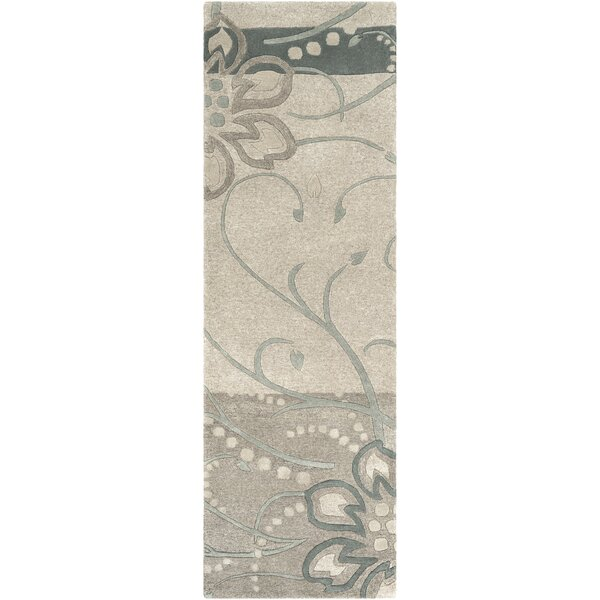 Middlebrooks Floral Handmade Tufted Wool Sage Area Rug