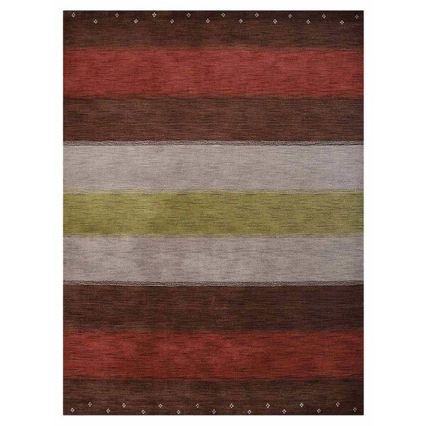 Citrus Heights Hand-Woven Wool Silver/Red Area Rug by Bloomsbury Market
