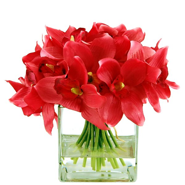 Cymbidiums in a Square Glass Vase with Faux Water by LCG Florals