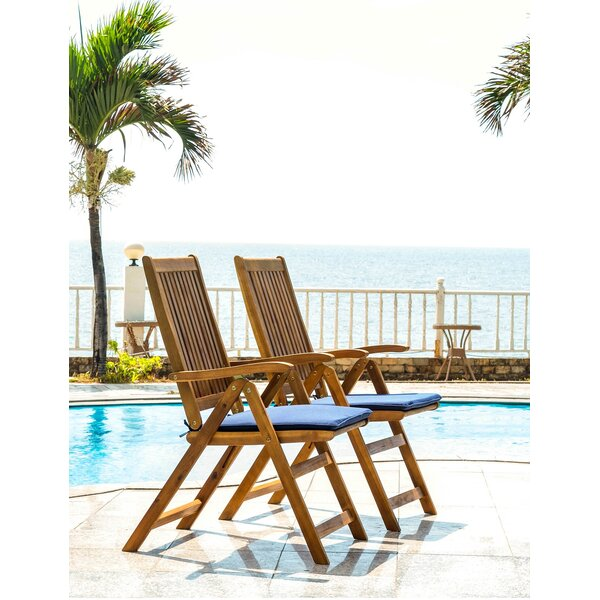 Nil Travel Recliner Patio Chair with Cushions (Set of 2) by Highland Dunes