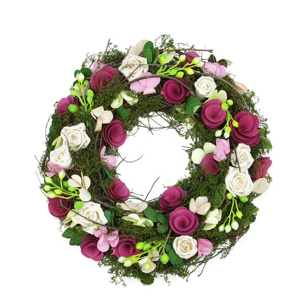 Flowers, Leaves, Berries and Twig Artificial Spring Floral Wreath by Northlight Seasonal