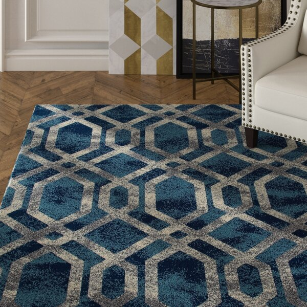 Delanie Blue And Silver Area Rug by Mercer41