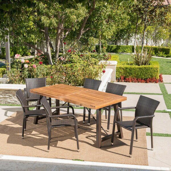 Lilley Outdoor Wood Wicker 7 Piece Dining Set by Union Rustic