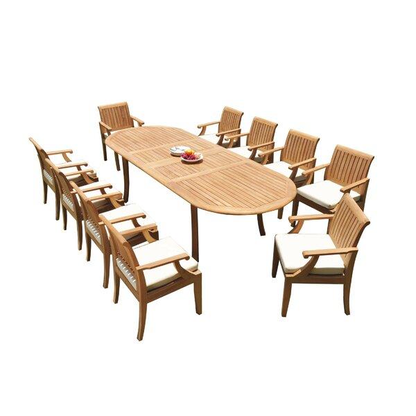 Gaen 11 Piece Teak Dining Set by Rosecliff Heights