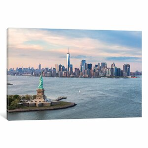 'Statue of Liberty, New York Harbor, Manhattan Skyline, New York City, New York, USA' Photographic Print on Wrapped C... by East Urban Home