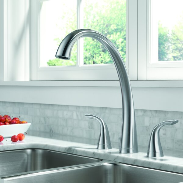 Pilar Double Handle Kitchen Faucet with Spray and Diamond Seal Technology by Delta