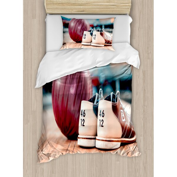 Close Up Bowling Shoes with Ball on Alley Indoor Activity Duvet Set by East Urban Home