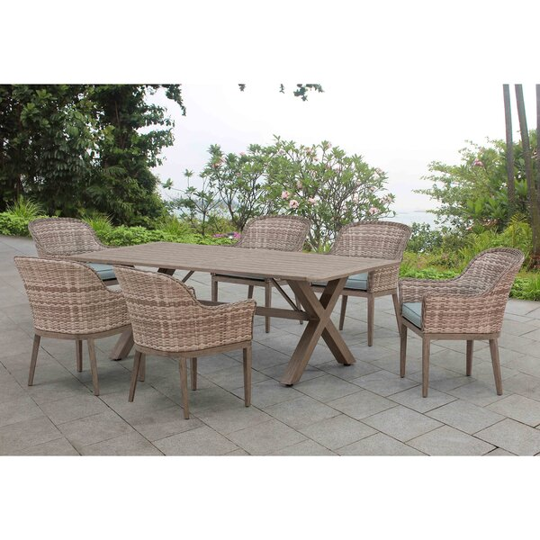 Peiffer 7 Piece Dining Set with Cushions by Bungalow Rose
