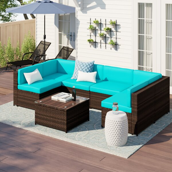 Shay 7 Piece Rattan Sectional Seating Group with Cushions by Zipcode Design