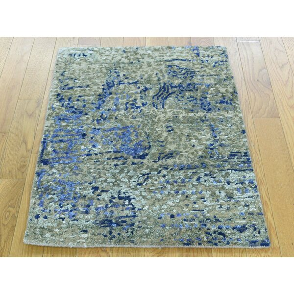 One-of-a-Kind Bowe Abstract Design Handwoven Wool/Silk Area Rug by Isabelline