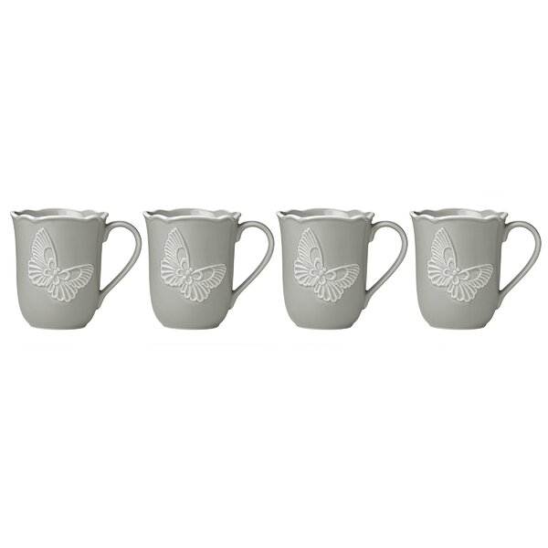 Butterfly Meadow Carved Coffee Mug (Set of 4) by Lenox