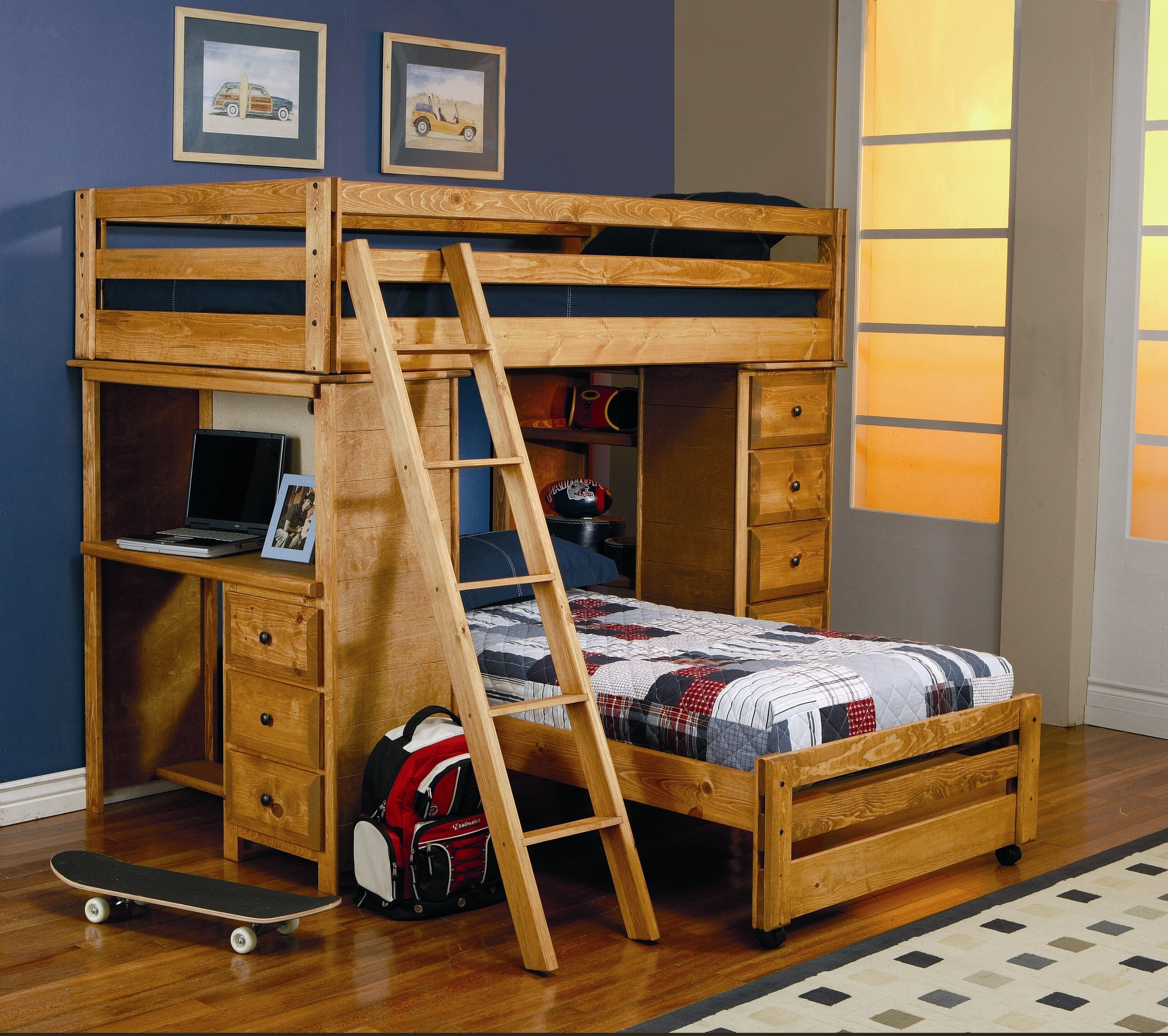 Wildon Home Enchanted Twin Over Twin L Shaped Bunk Bed With