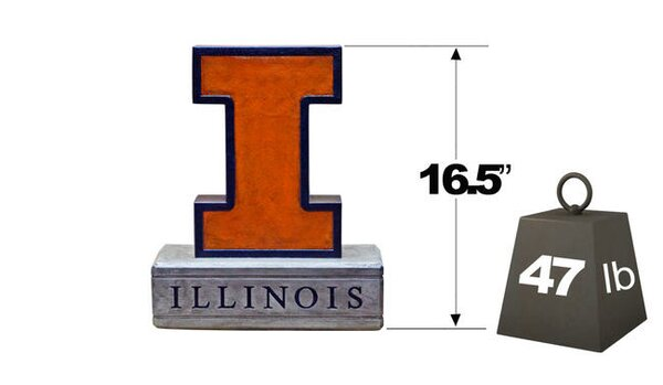 Illinois Block I Logo College Mascot Statue by Henri Studio