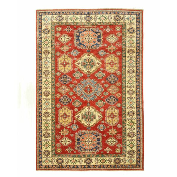 Super Kazak Hand-Knotted Red/Beige Area Rug by Eastern Rugs