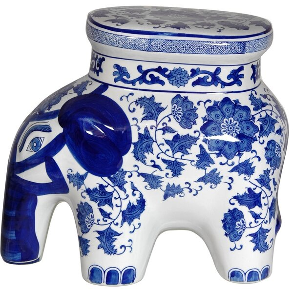 Floral Elephant Stool by Oriental Furniture