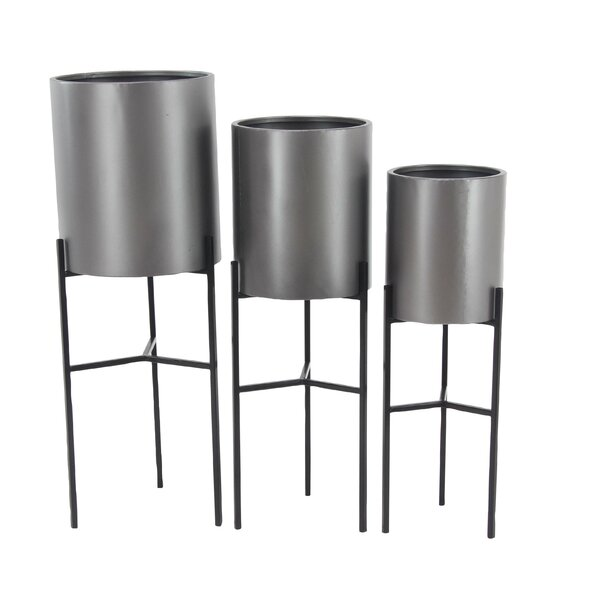 Modern 3-Piece Pot Planter Set with Stand by Cole & Grey
