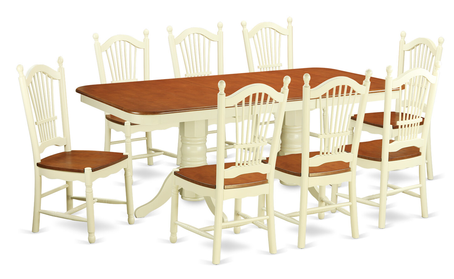 August Grove Pillsbury 9 Piece Wood Dining Set With Double Pedestal Table Legs Wayfair