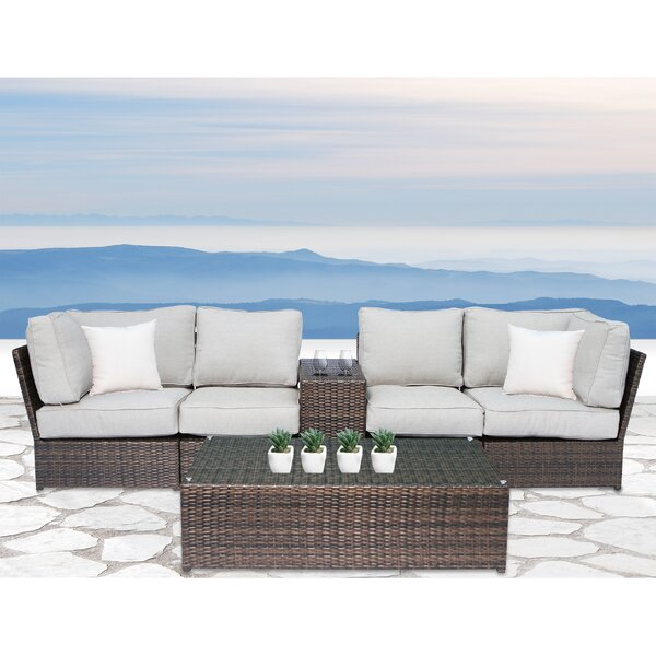 Widener 6 Piece Rattan Sectional Seating Group with Cushions by Sol 72 Outdoor