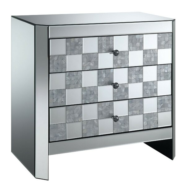 Miraloma 3 Drawer Mirrored End Table with Storage by Rosdorf Park Rosdorf Park
