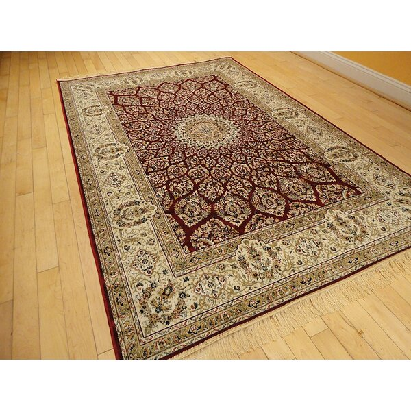 Shanelle Living Room Hand-Knotted Silk Red/Beige Area Rug by Astoria Grand