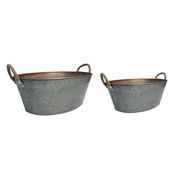 Oval 2-Piece Iron Pot Planter Set by BIDKhome