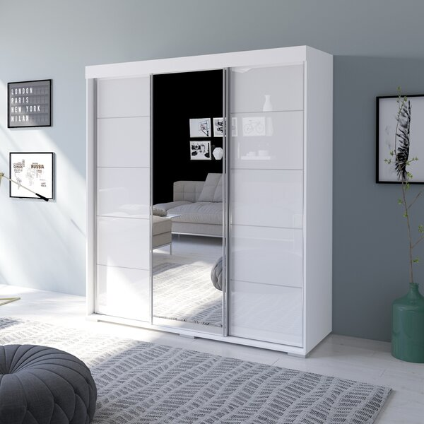 Neillsville 3 Door Modern High Gloss Armoire by Orren Ellis