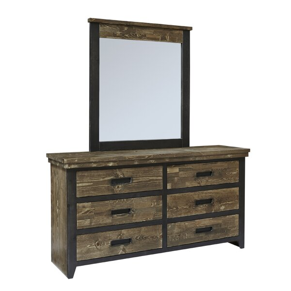 Boldt 6 Drawer Double Dresser with Mirror by Millwood Pines