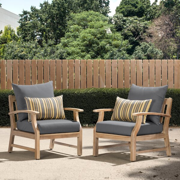 Joice Patio Chair with Sunbrella Cushions (Set of 2) by Highland Dunes Highland Dunes