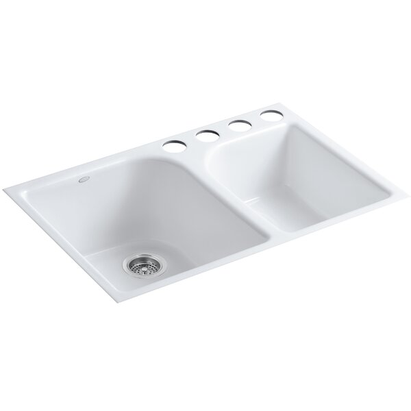 Executive Chef 33 L x 22 W x 10-5/8 Under-Mount Large/Medium, High/Low Double-Bowl Kitchen Sink with 4 Oversize Faucet Holes by Kohler