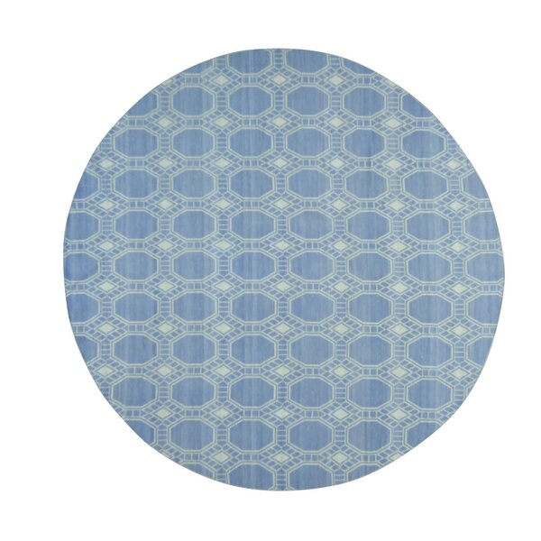 Flat Weave Reversible Durie Kilim Hand-Knotted Sky Blue Area Rug by Bungalow Rose