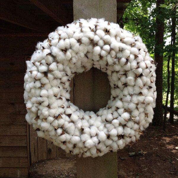 20 Thick Faux Cotton Wreath by Flora Decor