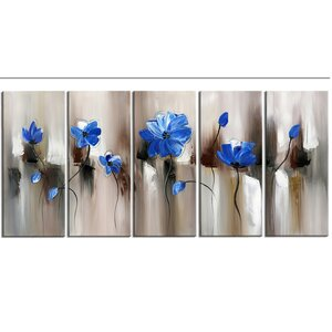 Blue Modern Flower 5 Piece Graphic Art on Wrapped Canvas Set by Zipcode Design