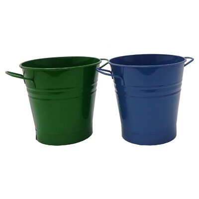 Enameled French Pail Steel Bucket Winston Porter Color: Sage-Blue