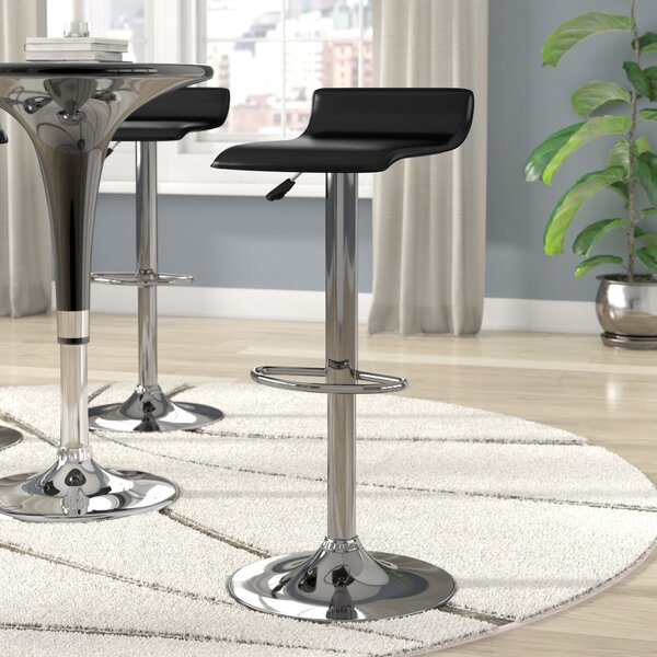 Crofts Adjustable Height Swivel Bar Stool by Wade Logan