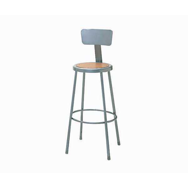 Height Adjustable Steel Hardboard Round Seat Stool with Backrest by Nexel