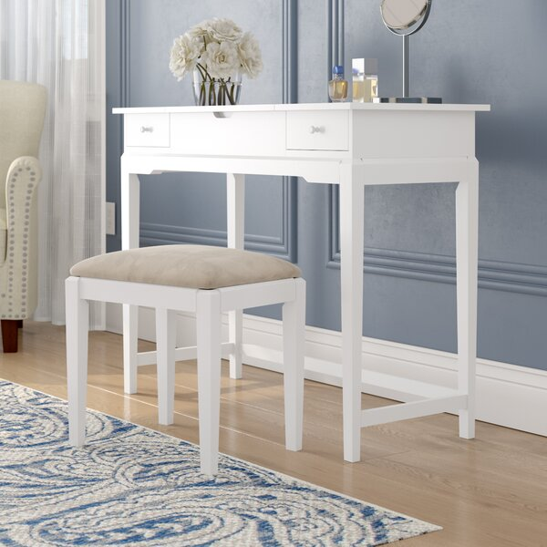 Andalusia Solid Wood Vanity Set with Stool by Darby Home Co Darby Home Co
