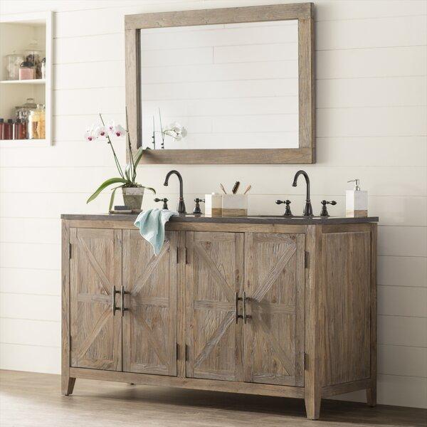 Warm Springs Solid Elm 60 Bathroom Vanity Set with Mirror by Laurel Foundry Modern Farmhouse