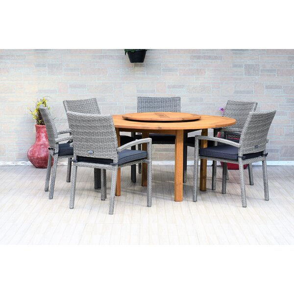 Dimitri 7 Piece Teak Dining Set with Cushions by Bayou Breeze