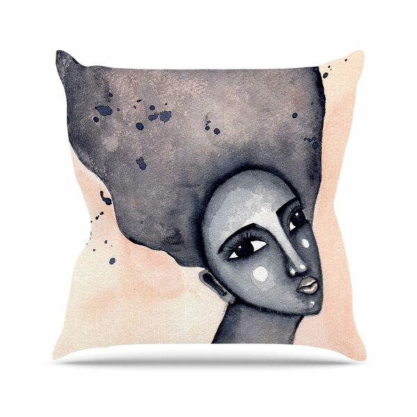 Stacey-Ann Cole Yearning African American Art Outdoor Throw Pillow by East Urban Home