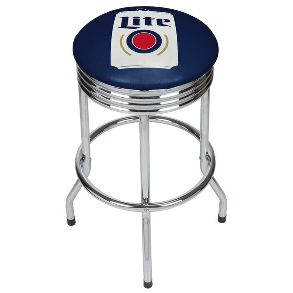 Miller Lite Minimalist Ribbed 28.5 Swivel Bar Stool by Trademark Global